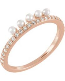 14k Rose Gold Freshwater Cultured Pearl & 1/5 CTW Diamond Stackable Ring - Size 7