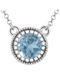 14k White Gold Swiss Blue Topaz 'December' 18' Birthstone Necklace