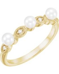 14k Yellow Gold Freshwater Cultured Pearl & .03 CTW Diamond Stackable Ring - Size 7