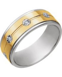 Sterling Silver & 10k Yellow Gold 8mm 1/10 CTW Diamond Band - Size 12.5