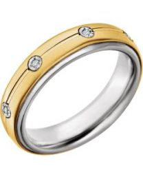 Sterling Silver & 10k Yellow Gold 5mm .04 CTW Diamond Band - Size 10.5