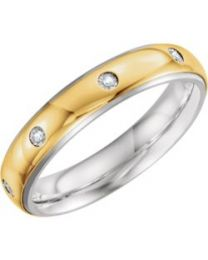 Sterling Silver & 10k Yellow Gold 5mm .05 CTW Diamond Band - Size 9