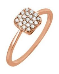 14k Rose Gold 1/6 CTW Diamond Square Cluster Ring - Size 7