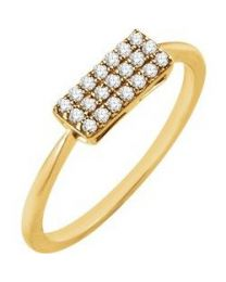 14k Yellow Gold 1/6 CTW Diamond Rectangle Cluster Ring - Size 7