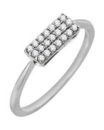 14k White Gold 1/6 CTW Diamond Rectangle Cluster Ring - Size 7
