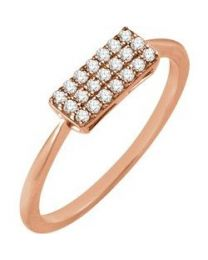 14k Rose Gold 1/6 CTW Diamond Rectangle Cluster Ring - Size 7