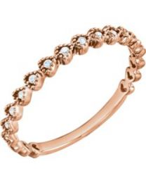 14k Rose Gold .06 CTW Diamond Stackable Ring - Size 7