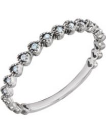 14k White Gold .06 CTW Diamond Stackable Ring - Size 7