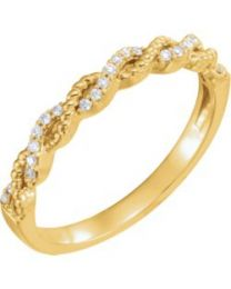 14k Yellow Gold .08 CTW Diamond Stackable Ring - Size 7