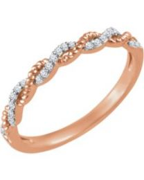 14k Rose Gold .08 CTW Diamond Stackable Ring - Size 7