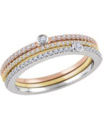 14k White Gold Yellow & Rose 3/8 CTW Diamond Set of 3 Stackable Rings - Size 7