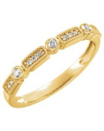 14k Yellow Gold 1/10 CTW Diamond Stackable Ring - Size 7