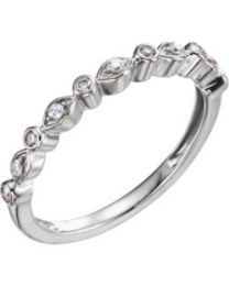 14k White Gold 1/8 CTW Diamond Stackable Anniversary Band - Size 7