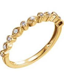 14k Yellow Gold 1/8 CTW Diamond Stackable Anniversary Band - Size 7
