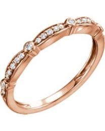 14k Rose Gold 1/8 CTW Diamond Stackable Anniversary Band - Size 7