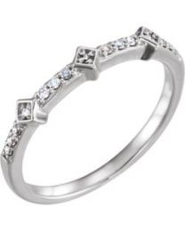 14k White Gold 1/10 CTW Diamond Stackable Ring - Size 7