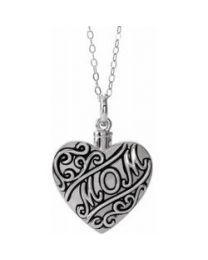 Sterling Silver Mom Heart Ash Holder 18' Necklace - Inspirational Blessings