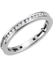 14k White Gold 3/8 CTW Diamond Stackable Ring - Size 7