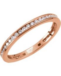 14k Rose Gold 3/8 CTW Diamond Stackable Ring - Size 7
