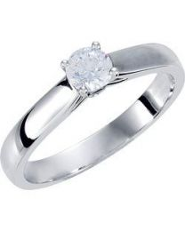 10k White Gold 1/2 CTW Diamond Solitaire Engagement Ring with Accent - Size 7