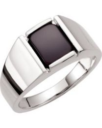 Sterling Silver Men's Onyx Ring - Size 7