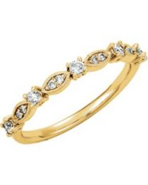 14k Yellow Gold 1/5 CTW Diamond Granulated Stackable Ring - Size 7
