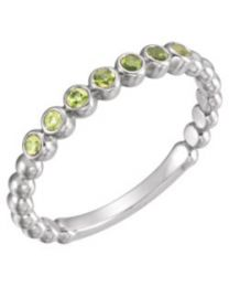 14k White Gold Peridot Stackable Ring - Size 7