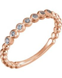 14k Rose Gold Aquamarine Stackable Ring - Size 7