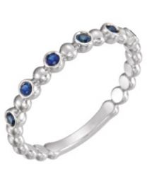 14k White Gold Blue Sapphire Stackable Ring - Size 7