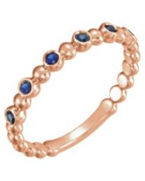 14k Rose Gold Blue Sapphire Stackable Ring - Size 7