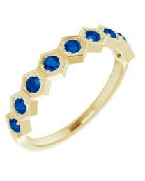 14k Yellow Gold Blue Sapphire Stackable Ring - Size 7
