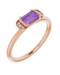 14k Rose Gold Amethyst & .02 CTW Diamond Stackable Ring - Size 7