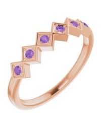 14k Rose Gold Amethyst Stackable Ring - Size 7