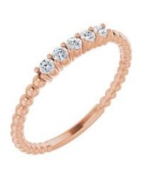 14k Rose Gold 1/6 CTW Lab-Grown Diamond Stackable Ring - Size 7