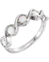 14k White Gold Opal Stackable Ring - Size 7