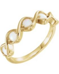 14k Yellow Gold Opal Stackable Ring - Size 7