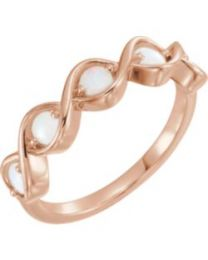 14k Rose Gold Opal Stackable Ring - Size 7