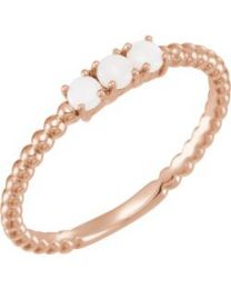14k Rose Gold Opal Stackable Beaded Ring - Size 7