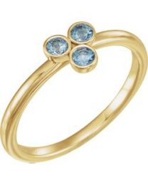 14k Yellow Gold Aquamarine Stackable Ring - Size 7
