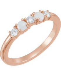 14k Rose Gold Opal & 1/5 CTW Diamond Stackable Ring - Size 7