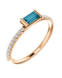14k Rose Gold London Blue Topaz & 1/6 CTW Diamond Stackable Ring - Size 7