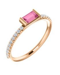 14k Rose Gold Pink Sapphire & 1/6 CTW Diamond Stackable Ring - Size 7