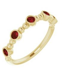 14k Yellow Gold Mozambique Garnet Stackable Beaded Ring - Size 7
