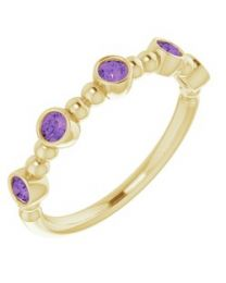 14k Yellow Gold Amethyst Stackable Beaded Ring - Size 7
