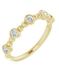 14k Yellow Gold .33 CTW Diamond Stackable Ring - Size 7