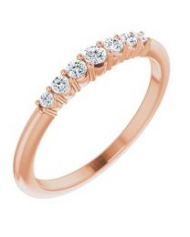 14k Rose Gold 1/6 CTW Diamond Stackable Ring - Size 7