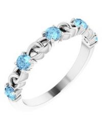 14k White Gold Aquamarine Stackable Link Ring - Size 7