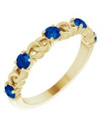 14k Yellow Gold Blue Sapphire Stackable Link Ring - Size 7