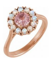 14k Rose Gold Morganite & Ethiopian Opal Halo-Style Ring - Size 7