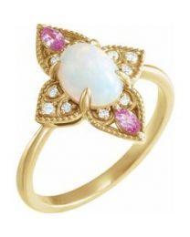 14k Yellow Gold Ethiopian Opal; Pink Sapphire & .05 CTW Diamond Vintage-Inspired Ring - Size 7